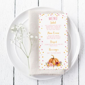 Printable Little Pumpkin Menu Cards
