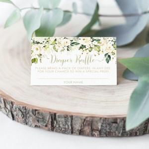 Printable Diaper Raffle Card- White Floral