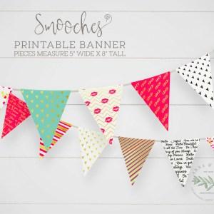 Printable Smooches Valentine Banner