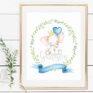 Printable Little Elephant Name Print- Blue