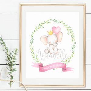 Printable Little Elephant Name Print- Pink