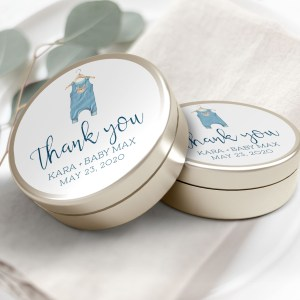 """Printable Blue Onesie Thank You Labels/Tags- 3"""" Inch"""