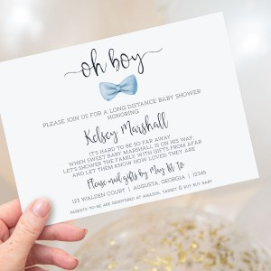 Printable Long Distance Baby Shower Invitation- Light Blue Bow Tie