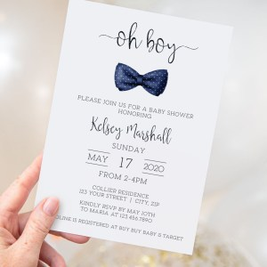 Printable Baby Shower Invitation- Navy Bow Tie