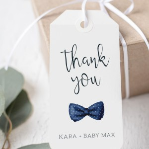 Printable Thank You Tags- Navy Bow Tie