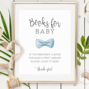 Printable Books for Baby Sign- Light Blue Bow Tie