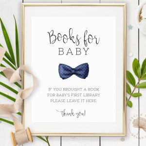 Printable Books for Baby Sign- Navy Blue Bow Tie