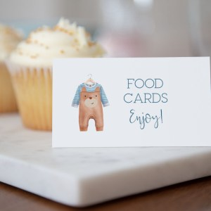 Printable Baby Shower Buffet/Place Cards- Brown Onesie