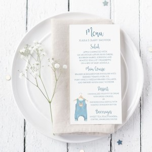 Printable Baby Shower Menu Cards- Blue Onesie