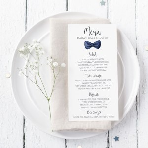 Printable Baby Shower Menu Cards- Navy Bow Tie