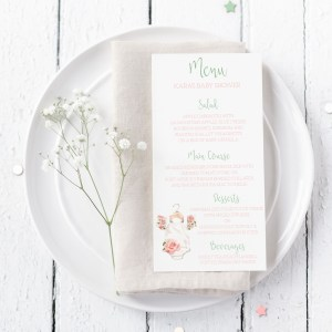 Printable Baby Shower Menu Cards- Floral Onesie