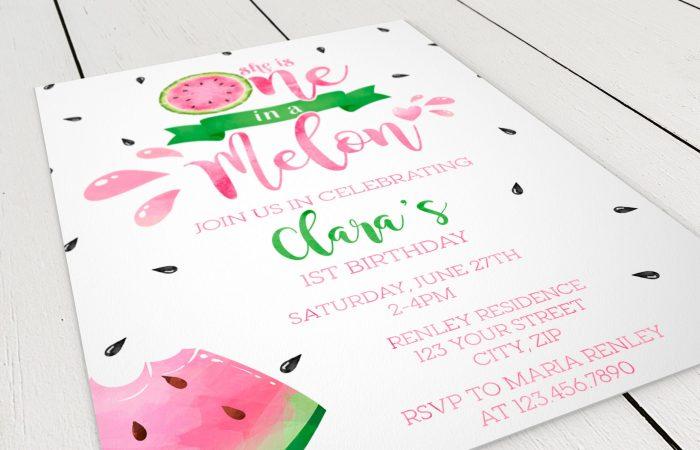 Printable Watermelon One in a Melon Invitation