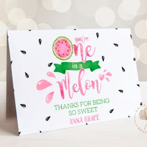 Printable One in a Melon Thank You Card