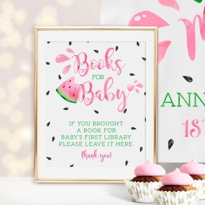 Printable Watermelon Books for Baby Sign