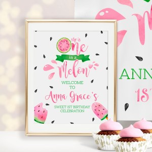 Printable One in a Melon Welcome Sign