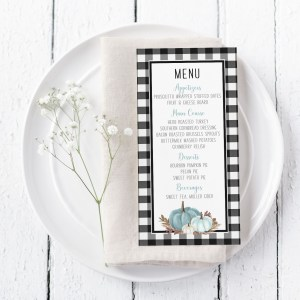 Printable Buffalo Check with Blue Pumpkins Menu Card