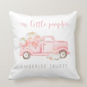 Pink Pumpkin Truck Personalized Accent Pillow