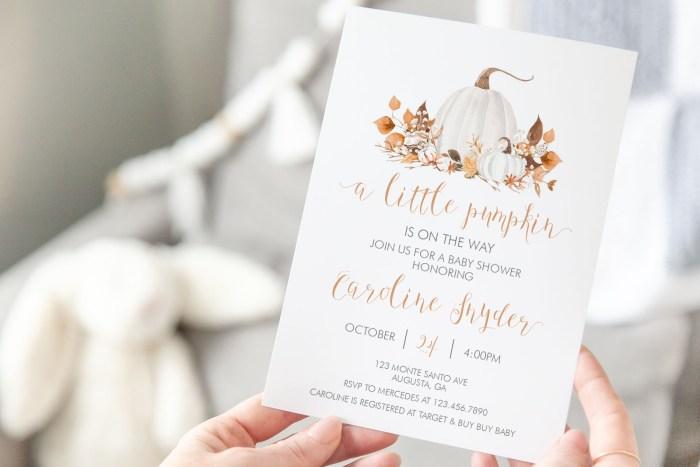 Printable Ivory Pumpkins Baby Shower Invitation