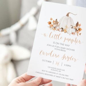 Printable Ivory Pumpkins Baby Shower Invitation