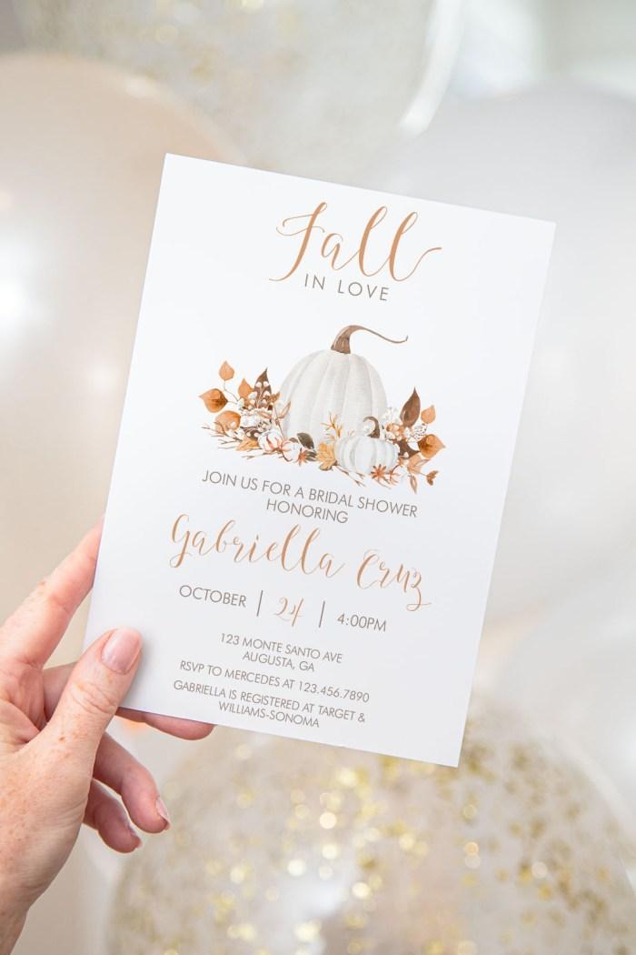 Printable Ivory Pumpkins Bridal Shower Invitation