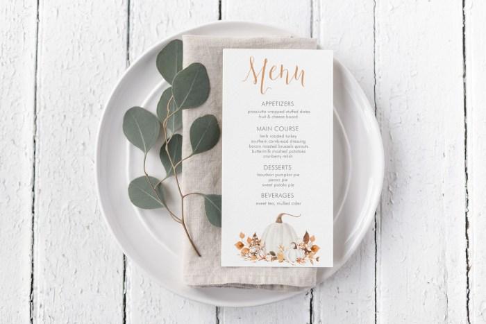 Printable Ivory Pumpkins Menu Card