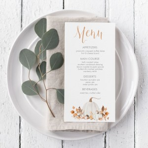 Printable Ivory Pumpkins Menu Card