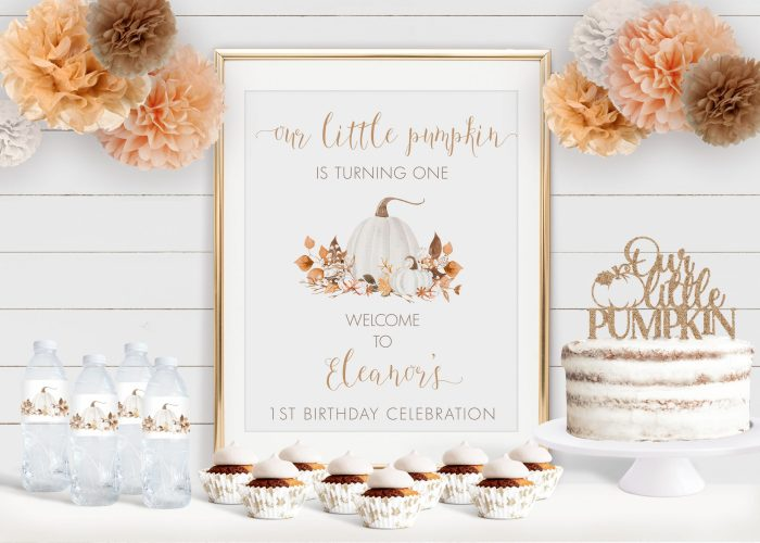 Printable Ivory Pumpkins Birthday Poster