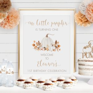 Printable Ivory Pumpkins Birthday Poster