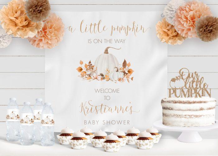 Printable Ivory Pumpkins Baby Shower Backdrop