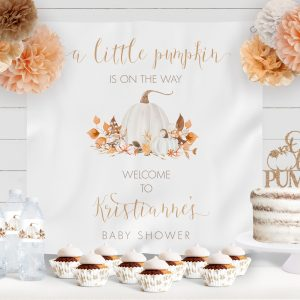 Printable Ivory Pumpkins Baby Shower Backdrop