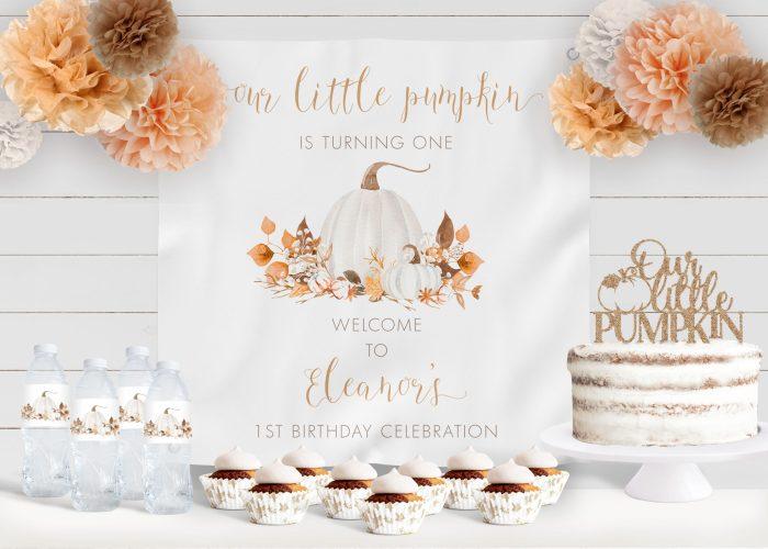 Printable Ivory Pumpkins Birthday Backdrop