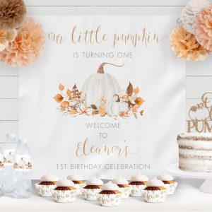 Printable Ivory Pumpkins Birthday Backdrop