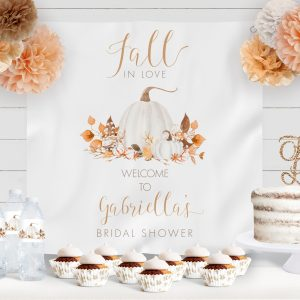Printable Ivory Pumpkins Bridal Shower Backdrop