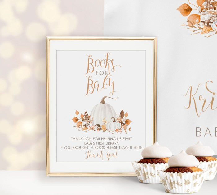 Printable Ivory Pumpkins Books for Baby Sign
