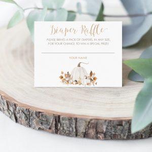 Printable Ivory Pumpkin Diaper Raffle Card