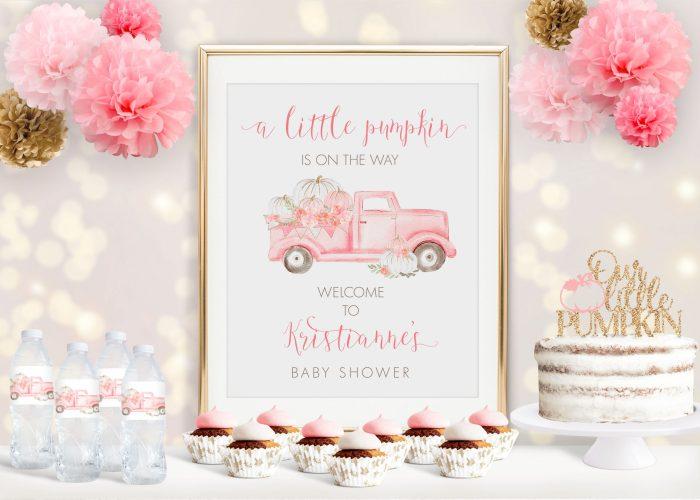Pink Pumpkin Truck Baby Shower Poster