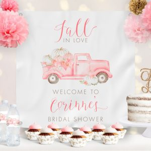 Pink Pumpkin Truck Bridal Shower Backdrop