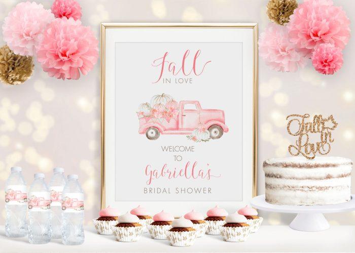 Pink Pumpkin Truck Bridal Shower Poster