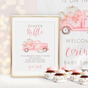 Printable Pink Pumpkin Truck Diaper Raffle Sign
