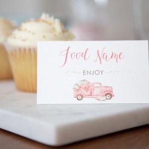 Printable Pink Pumpkin Truck Buffet/Place Cards