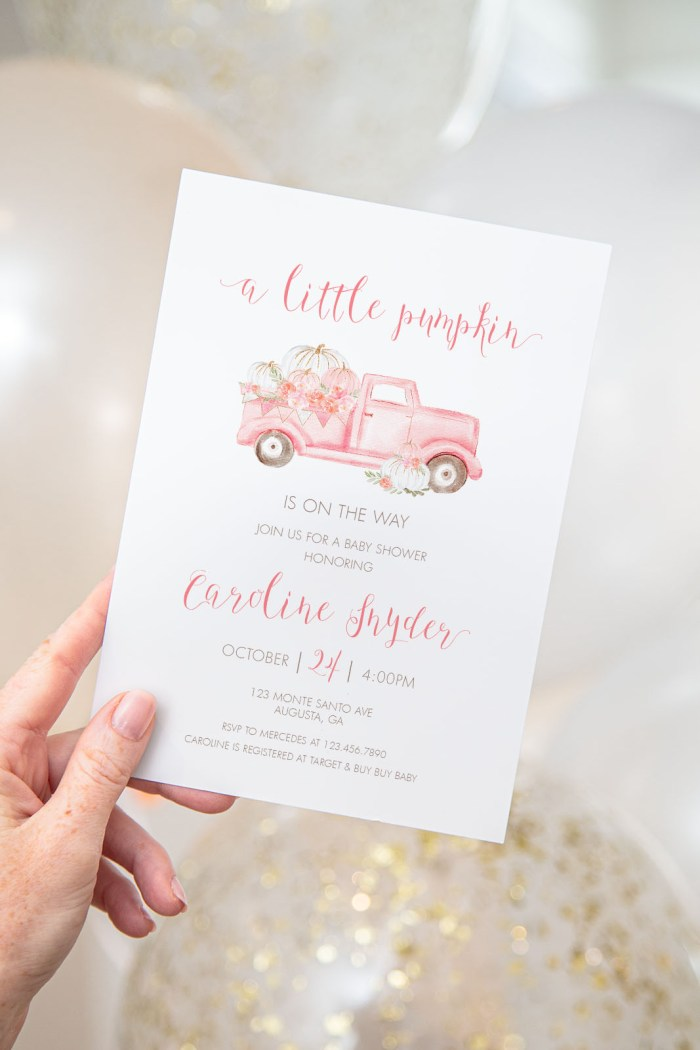 Printable Pink Pumpkin Truck Baby Shower Invitation