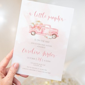 Printable Pink Pumpkin Vintage Truck Baby Shower Invitation