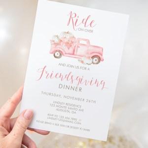 Printable Pink Pumpkin Truck Friendsgiving Invitation