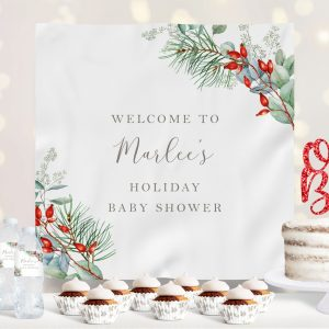Printable Christmas Greenery Baby Shower Backdrop