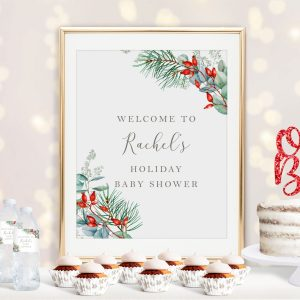 Printable Christmas Greenery Baby Shower Poster