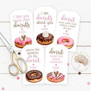 Printable Valentine Donuts Favor Tags