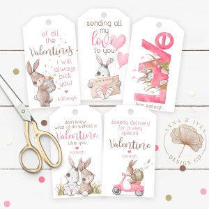 Printable Love Bunnies Valentine Favor Tags