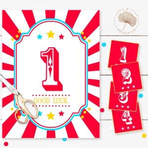 Printable Circus/Carnival Cake Walk Game- Bright Red