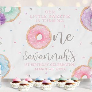 Printable Donut Birthday Backdrop 4 x 6