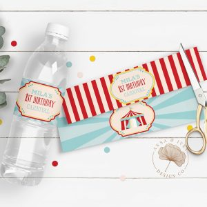 Printable Dark Red Circus/Carnival Party Drink Labels